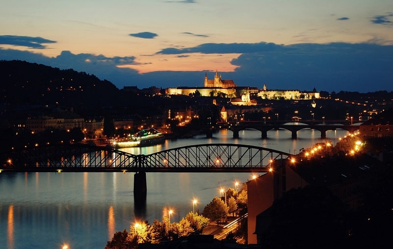 נהר הוולטאבה בערב