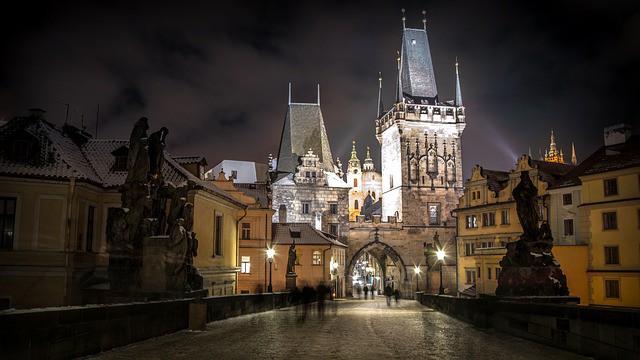 מצודת פראג בלילה